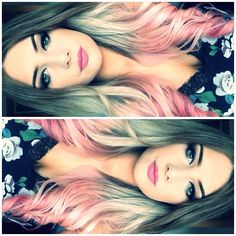 Pink brown blond ombre