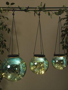 LED Orb Lights Mercury Glass Blue (Set of 3)