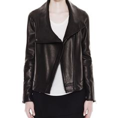 """Helmut Lang Petal Leather Jacket High collar black leather jacket. 100% lamb. Assymmetrical zipper closure at front. Exposed zippers at sleeves. Measurments taken from a size S; Center back length: 24"""", Across shoulder: 16"""".  Brand new with tags Helmut Lang Jackets & Coats"""