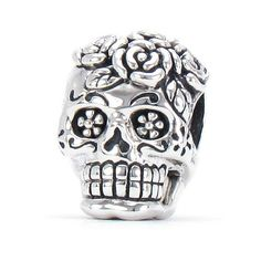Bella Fascini Dia De Los Muertos - Day Of The Dead Decorated Rose Skull / Sugar Skull - Cole Collection - Solid 925 Sterling Silver European Charm Bracelet Bead - Compatible Brands: Authentic Pandora, Chamilia, Moress, Troll, Ohm, Zable, Biagi, Kay's Charmed Memories, Kohl's, Persona & more! Bella Fascini Beads,http://www.amazon.com/dp/B00H087VQG/ref=cm_sw_r_pi_dp_aioSsb0ZEESEFR0T