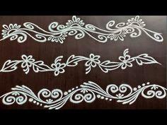 Rangoli Side Designs, Simple Rangoli Border Designs, Boarder Designs, Rangoli Borders, Free Hand Rangoli Design, Small Rangoli Design, Rangoli Ideas, Rangoli Designs With Dots, Rangoli With Dots