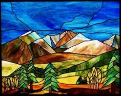 Mountain landscape stained glass panel, like the trees Glass Wall Art, Stained Glass Mosaic, Glass Painting, Stained Glass Rose, Stained Glass Paint, Glass Design