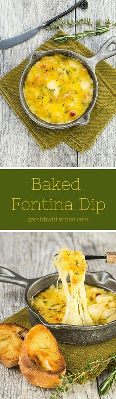 Need an easy, last minute appetizer that is still impressive? Just 10 minutes separates you from this Baked Fontina Dip with garlic and herbs. ~ http://www.garnishwithlemon.com