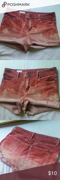 "Gap fiery dip bleached cords size 28 Gap brand cutoff cords that have been dip dyed with bleach. Super cool ""fire"" colors and effect. Size 28 but fit a 29 best in my opinion. Mid rise. GAP Shorts"