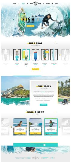 This is a totally tubular design! But seriously the beach colors and subtle design elements on the slider arrows and on the headings makes this stand out. So clean, but bold at the same time. #carousel #slideshow #typography
