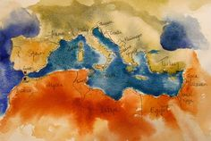 marg's hand painted map of the mediterranean. see you in 2016 :)