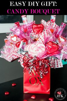 Easy DIY gift alert! This candy bouquet is the perfect gift for any occasion Valentine's Day, Mother's Day, Father's Day, Graduation, Birthday gift. Best of all, it's cheap and makes a great dollar store craft. Full how to on The Bewitchin' Kitchen