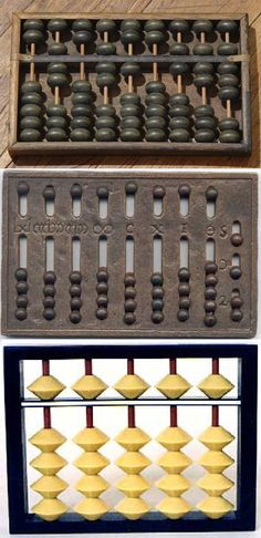 abacuses - 1) Chinese Abacus - the number represented in the picture is 70,710,678) 2) Roman Abacus, 3) Soroban そろばん 算盘 derive from the Chinese Abacus, suanpan