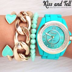Turquoise watch and stacked bracelets. Fashion Jewelry Necklaces, Cute Jewelry, Jewelry Watches, Jewelry Accessories, Fashion Accessories, Jewlery, Azul Tiffany, Tiffany Blue, Aqua