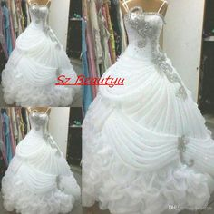 Luxury White Ball Gown Wedding Dresses With Cascading Ruffles Skirt Crystal 2016 Spaghetti Strap Organza Ruched Bridal Dress For Women Muslim Wedding Dresses Non Traditional Wedding Dresses From Beautyu, $233.67| Dhgate.Com