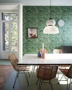 wicker and wallpaper