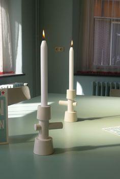 BASE candlestick, in collaboration with Cor Unum ceramics. kranen/gille www.bijdendom.nl