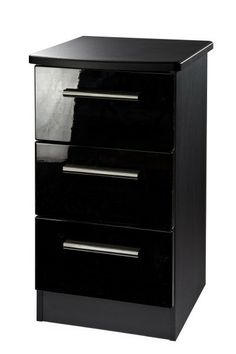 Knightsbridge Black High Gloss 3 Drawer Bedside Cabinet Was 120 Our Special Price 109