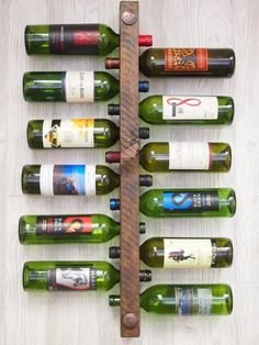Wall Mounted Wine Rack 16 Bottle Vertical Display Wood Rustic Racks And Pine