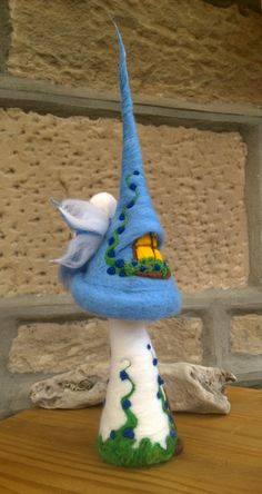 Forget-me-not Cottage Toadstool Fairy House Needle felted