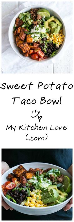 Frugal Food Items - How To Prepare Dinner And Luxuriate In Delightful Meals Without Having Shelling Out A Fortune Sweet Potato Taco Bowl My Kitchen Love Mexican Food Recipes, Whole Food Recipes, Vegetarian Recipes, Cooking Recipes, Healthy Recipes, Easy Recipes, Sweet Potato Tacos, Sweet Taco, Sweet Potato Meals