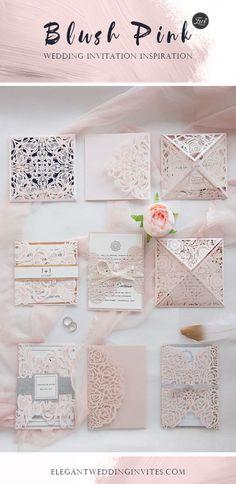 {BLUSH PINK} wedding invitation collection at elegantweddinginvites.com
