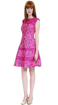Kay Unger New York Fit and Flare Lace Cocktail in Fuchsia Women