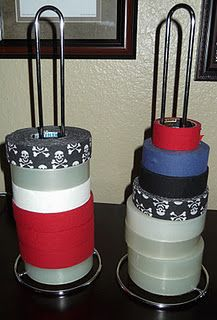 "A Hockey Mom's Dream!!! A paper towel holder turned into a Hockey Tape holder....No more will I ever hear, ""Mom, where's some tape?""! Hockey Decor, Kids Sports, Sports Locker, Hockey Stick Crafts, Hockey Sticks, Lacrosse, Duct Tape Storage, Youth Hockey, Hockey Mom"