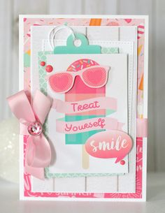 """""""Smile"""" card created using Echo Park's Summer Dreams Collection. Available today at Scrapbook.com  #scrapbookcom #scrapbook #scrapbooking #cardmaking #stamping #learncrafting #lifehandmade #scrapbookdotcom #sbcinspired"""