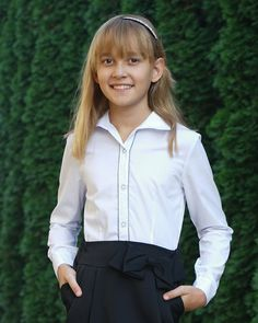 76fa26c1d6 Elegancka dziewczęca koszula do szkoły 122-158 Lusia 2 biała. Biała bluzka  dla dziewczynki