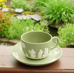 Sage Green Wedgwood Cup Saucer Jasper Ware England Vintage Putti Children Women