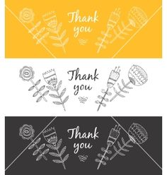 Floral Thank you card vector - by Tatishdesign on VectorStock®
