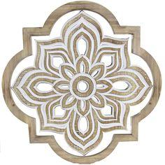 """Quatrefoil Floral Medallion Wooden Wall Decor, 17"""""""