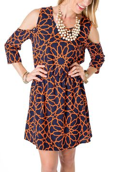 This Navy and Orange dress is a perfect Auburn Game Day Dress!