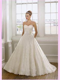 White Ball Sweetheart Lace Wedding Dress