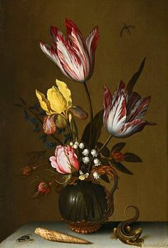 Balthasar van der Ast. Flowers in a Glass Jug with Lizard and Shell, 17th century.