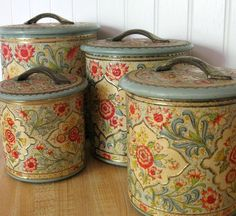 Jadeite Holland Daher Shabby Tin Canister Set by Somethingcharming, $90.00