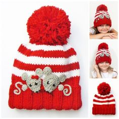 Knit Girls Hat Kids Winter Hat Beanie Hat Mouse Hat by 2mice