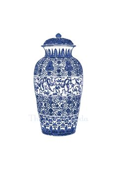 Blue and White Chinese Ginger Jar  13x19 Giclee. $45.00, via Etsy.