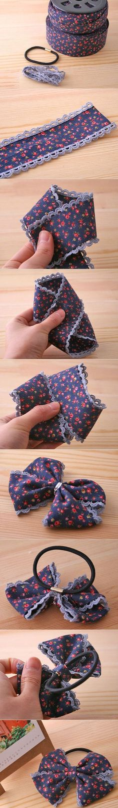 Pile of sugar, find life, collect beautiful, share pictures: crafts headbands, - Fabric Crafts - Ribbon Art, Diy Ribbon, Ribbon Crafts, Ribbon Bows, Fabric Crafts, Diy Crafts, Ribbons, Making Hair Bows, Diy Hair Bows