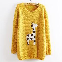 Yellow Super Adorable Cartoon Giraffe Loose Pullover Sweater