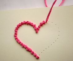 Valentine's Day Card: 36 Creative Ideas + Step by Step Valentines Bricolage, Valentine Crafts, Embroidery Cards, Hand Embroidery Designs, Paper Bag Flowers, Homemade Valentine Cards, Beautiful Birthday Cards, Mothers Day Crafts, Handmade Crafts