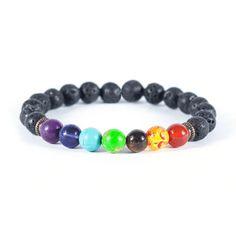 7 Chakra Healing Bracelet Handmade Volcanic Lava Stone Mala Meditation Beads for sale online Handmade Bracelets, Bracelets For Men, Beaded Bracelets, Jewelry Necklaces, Chakra Healing, Sacral Chakra, 7 Chakras, Throat Chakra, Crystal Healing