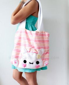 Bunny Tote Bag  Pink  Back to School  Cute  Kawaii by HappyCosmos, $25.00