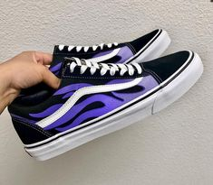 9a90c82850 Purple Flame custom Vans Old Skool Custom Shoes