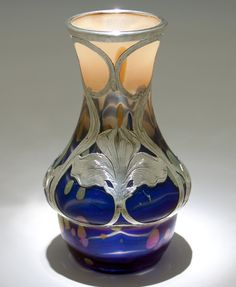 Loetz Glass (attributed) with Alvin Silver Overlay Vase, c. 1900