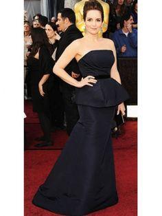 Dark Navy Satin Strapless A-line Tina Fey Oscar Dress!  Fabric: satin  Length: sweep  Neckline: strapless  Silhouette: a-line  Shown Color: dark navy