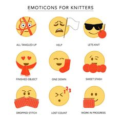 Emoticons for Knitters - 12 Knitting Emojis that Post Stitch would like to see added to the emoticon library Knitting Quotes, Knitting Humor, Crochet Humor, Knitting Stitches, Knitting Projects, Knitting Patterns, Crochet Patterns, Knitting Scarves, Funny Crochet