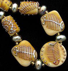 Items similar to DSG Beads Handmade Organic Lampwork Glass-Made To Order Fish Bones on Etsy Polymer Clay Beads, Lampwork Beads, Jewelry Art, Beaded Jewelry, Jewellery, Art Textile, How To Make Beads, Bead Art, Glass Beads