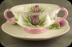 Shelley Dainty Thistle Cream Soup Very RARE Pink Trim in Pottery & Glass, Pottery & China, China & Dinnerware   eBay