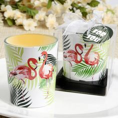 Tropical Themed Flamingo Design Glass Votive Candle Holder- Tropical themed parties and events are totally on trend and these delightful flamingo votive candles will add the perfect finishing touch to your tables. Create the perfect tropical themed v Candle Wedding Favors, Candle Favors, Wedding Cake, Wedding Ceremony, Tea Light Candles, Votive Candles, Glass Votive Candle Holders, Flamingo, Themed Parties