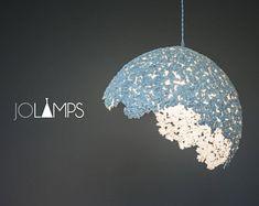 Paper mache lamp, lamp, pendant light, hanging lamp, pendant lamp, paper lamp, industrial lamp, paper pulp lamp, eco friendly, grey