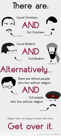 I just love the whole point of this. Although I am a strong atheist who, in most cases, is against religion. This is how I see it.