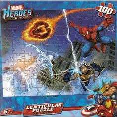 $7.99 - Old-School meets New-School with this  Lenticular 3D Puzzle. This 100 piece puzzle and has Spiderman, Silver Surfer, Fantastic 4 and Storm. And the 3-D feature will have your kids mesmerized.