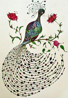 Peacock print in jewel colors.